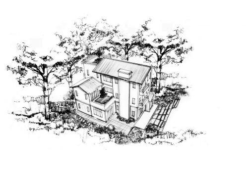 手绘林间小屋图片